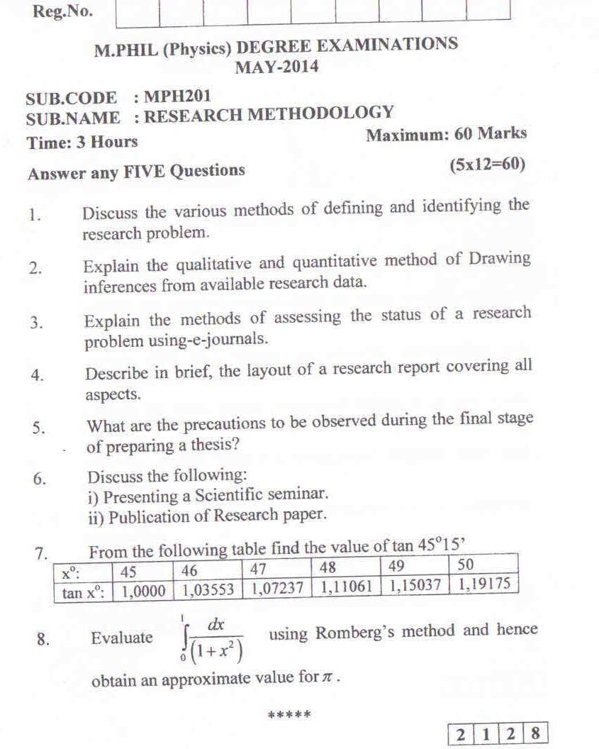 question paper 1 - Resume M Phil Computer Science