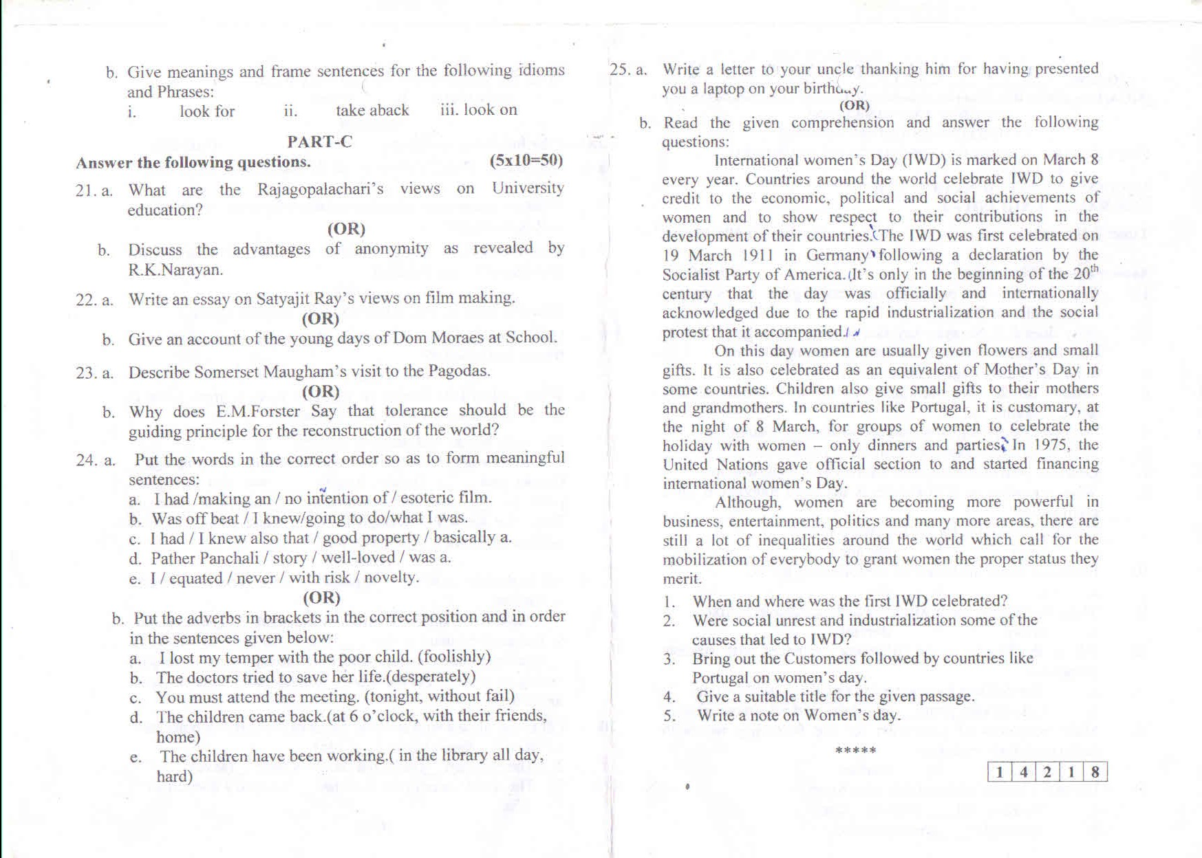 sri chandrasekharendra saraswathi viswa mahavidyalaya university question paper 6